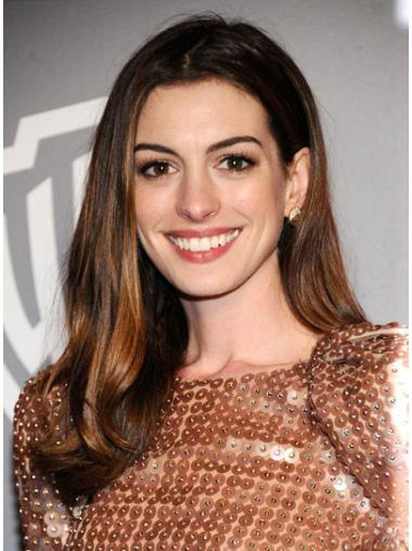 Incredible Brown Straight Long Anne Hathaway Wigs