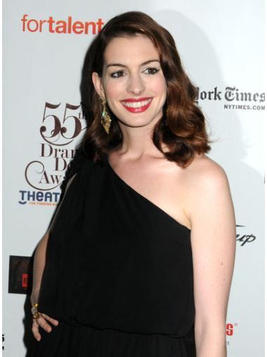 Fashion Auburn Wavy Shoulder Length Anne Hathaway Wigs