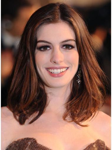 Exquisite Auburn Lace Front Shoulder Length Anne Hathaway Wigs