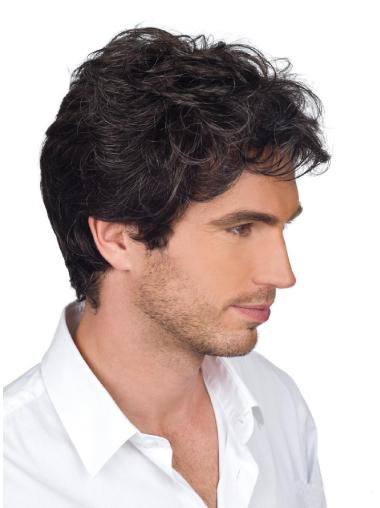High Quality Monofilament Wavy Short Men Wigs