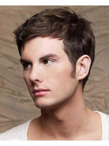 Brown Straight Remy Human Hair Top Men Wigs