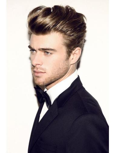 Brown Straight Remy Human Hair Modern Men Wigs