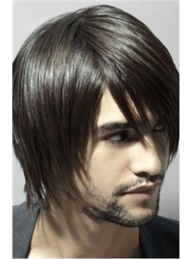 Brown Straight Remy Human Hair Graceful Men Wigs