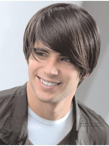 Brown Straight Remy Human Hair Sassy Men Wigs