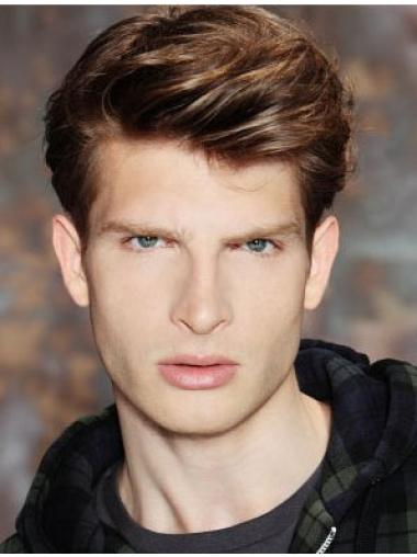 Stylish Brown Straight Cropped Men Wigs