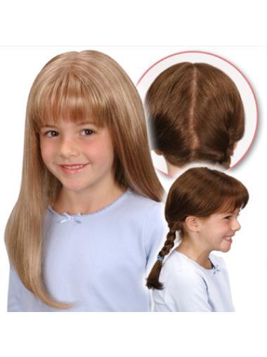 Pleasing Blonde Monofilament Long Kids Wigs