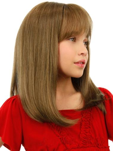 Good Blonde Straight Shoulder Length Kids Wigs