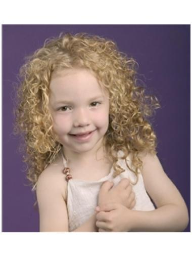 Natural Blonde Curly Shoulder Length Kids Wigs