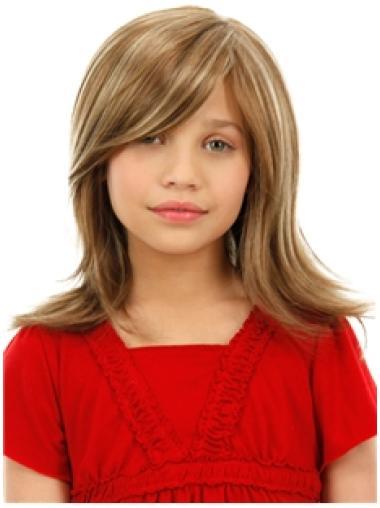 Flexibility Blonde Straight Shoulder Length Kids Wigs