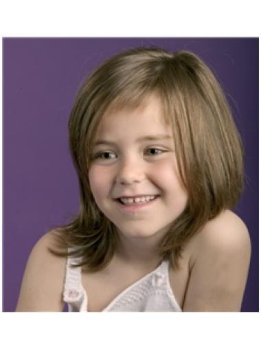 Graceful Brown Straight Shoulder Length Kids Wigs