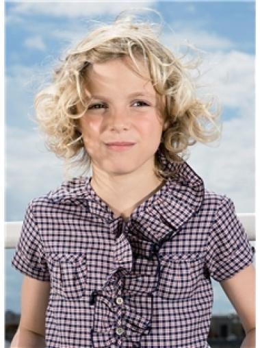 Amazing Blonde Curly Chin Length Kids Wigs