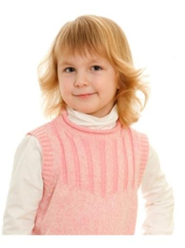 Modern Blonde Wavy Shoulder Length Kids Wigs
