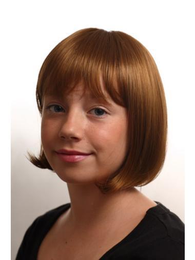 Cool Auburn Straight Chin Length Kids Wigs