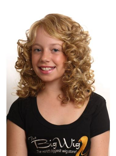 Beautiful Blonde Curly Shoulder Length Kids Wigs