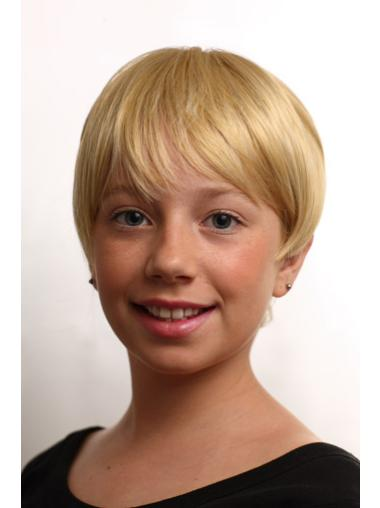 Convenient Blonde Straight Short Kids Wigs