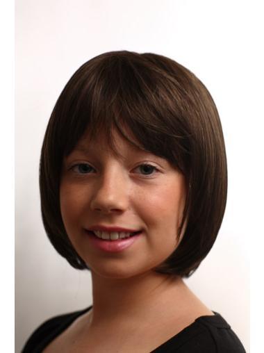Sassy Brown Straight Chin Length Kids Wigs