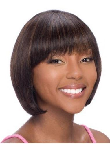 Refined Auburn Straight Chin Length African American Wigs