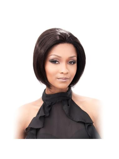 Durable Black Lace Front Chin Length Human Hair Wigs