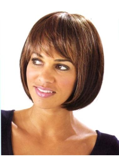 Fabulous Brown Straight Chin Length Bob Wigs