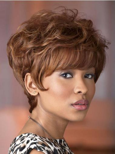 Cheapest Brown Wavy Short African American Wigs