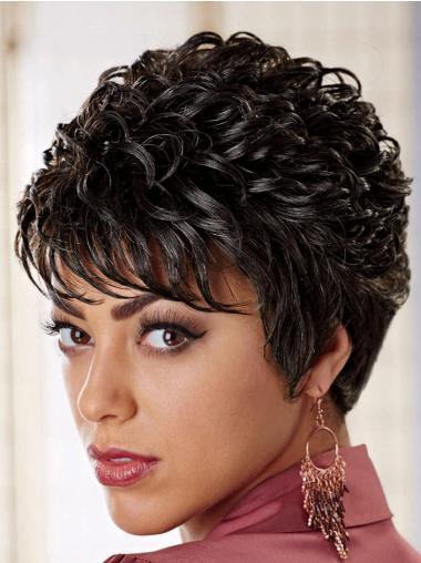 Impressive Black Curly Short African American Wigs