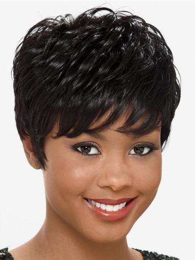 Unique Black Straight Short African American Wigs