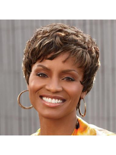 Convenient Brown Curly Cropped African American Wigs