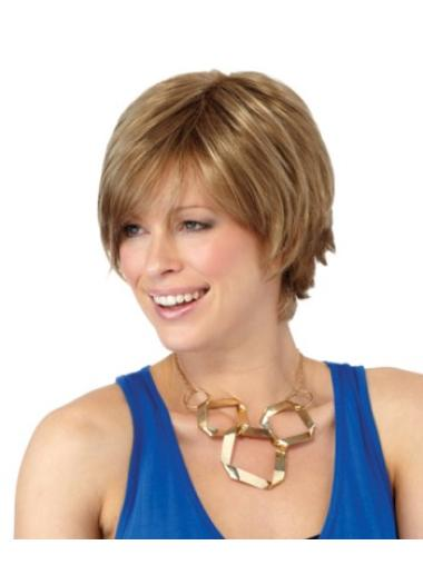 Synthetic Blonde Straight Easeful Short Wigs