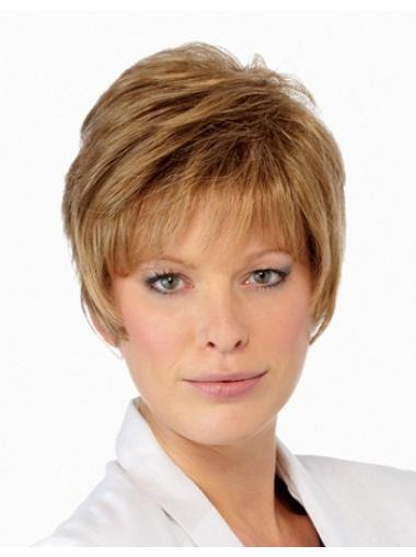 Graceful Blonde Straight Cropped Petite Wigs