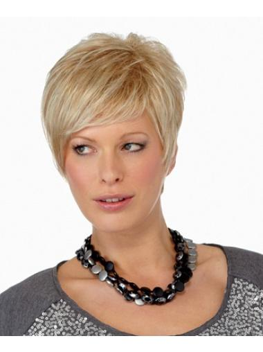 Straight Blonde Synthetic Faddish Short Wigs