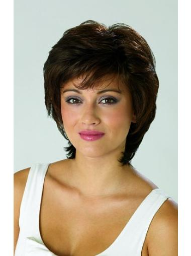 Brown Stylish With Bangs Straight Short Wigs