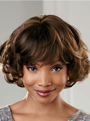 Comfortable Brown Wavy Short African American Wigs Black