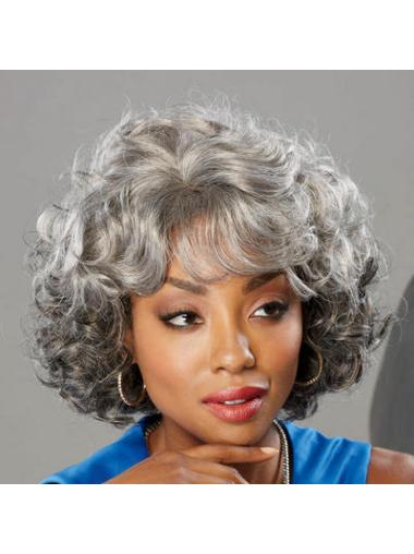 High Quality Curly Chin Length Synthetic Grey Wigs