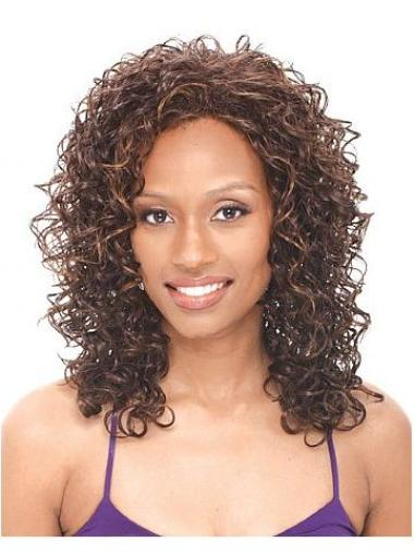 Pleasing Brown Curly Shoulder Length African American Wigs