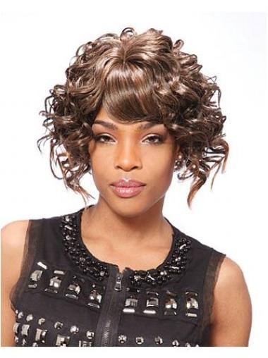 Incredible Brown Curly Short African American Wigs