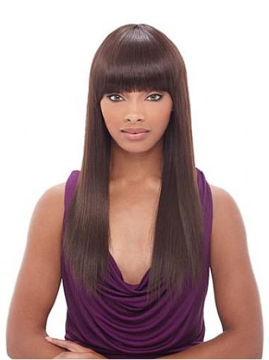 Gorgeous Auburn Straight Long African American Wigs