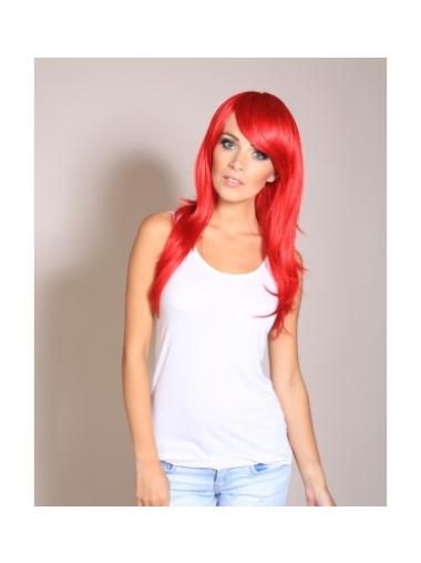 Red Straight Without Bangs 22 Inch Wigs