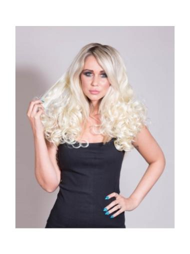 Curly Blonde Synthetic Without Bangs 21 Inch Half Wigs