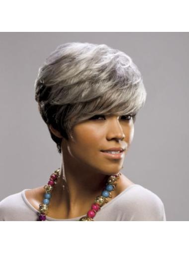 Straight Cheap Synthetic Grey Wigs