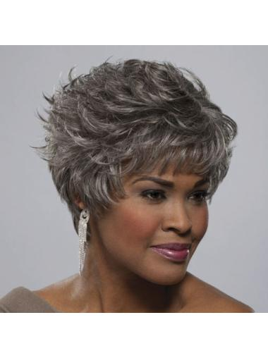 Straight Modern Synthetic Grey Wigs