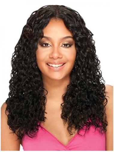 Style Black Curly Long U Part Wigs