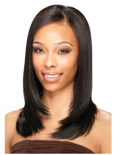 Polite Black Straight Shoulder Length U Part Wigs