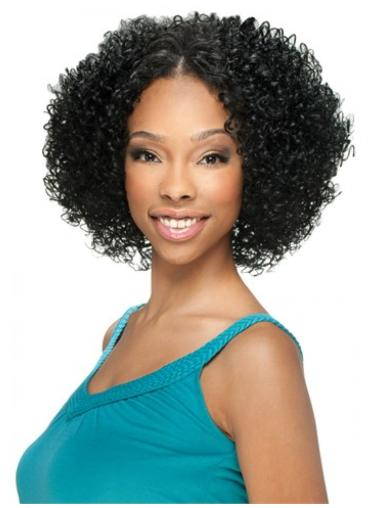 Suitable Black Curly Chin Length U Part Wigs