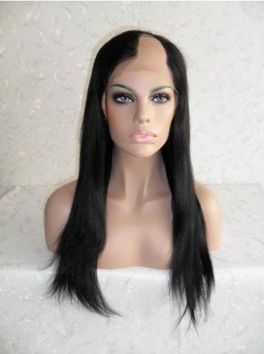 Fashionable Black Lace Front Long U Part Wigs