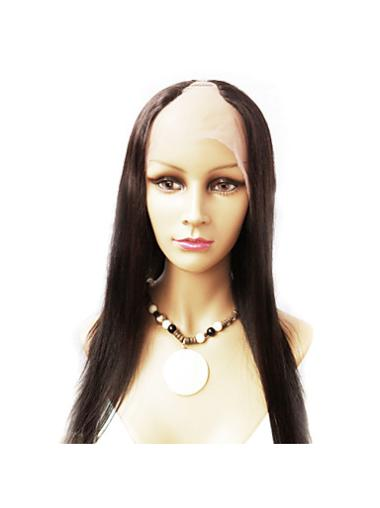 Long Lace Front Brown Middle Human U Part Wigs