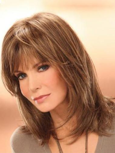 Jacklyn Smith Mature and Beautiful Mid-length Layered Straight Human Hair Wig