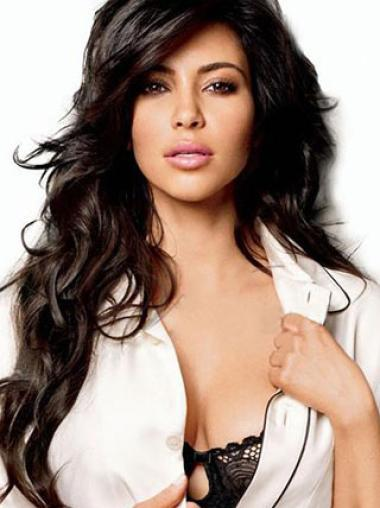 Kim Kardashian Long Wavy Hairstyle Lace Front Wig 24 Inches