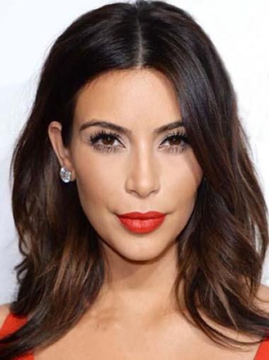 Kim Kardashian Enchanting Sexy Long Loose Wave Lace Front Human Hair Wig 14 Inches