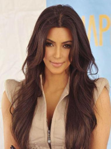 Kardashian Hairstyle Long Loose Wavy 26 Inches Lace Front 100% Real Human Hair Wig