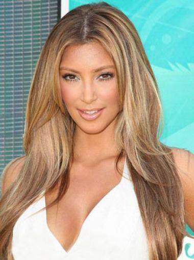 Kardashian Glamorous Celebrity Hairstyle Long Straight Blonde Full Lace Wig 100% Human Hair 20 Inches